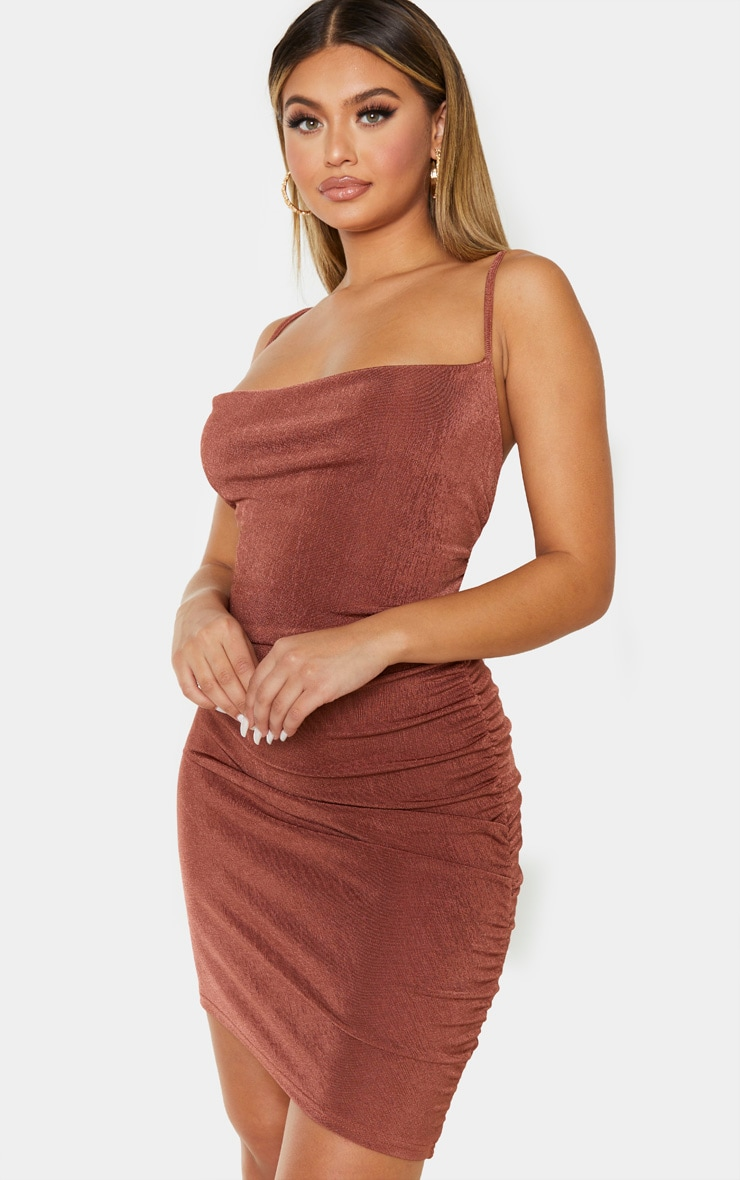 Chocolate Brown Textured Slinky Strappy Ruched Bodycon Dress 4