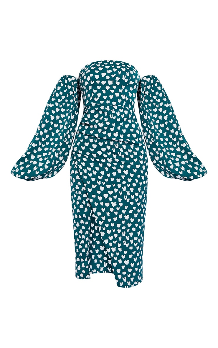Emerald Green Dalmatian Print Bardot Puff Sleeve Wrap Dress 5