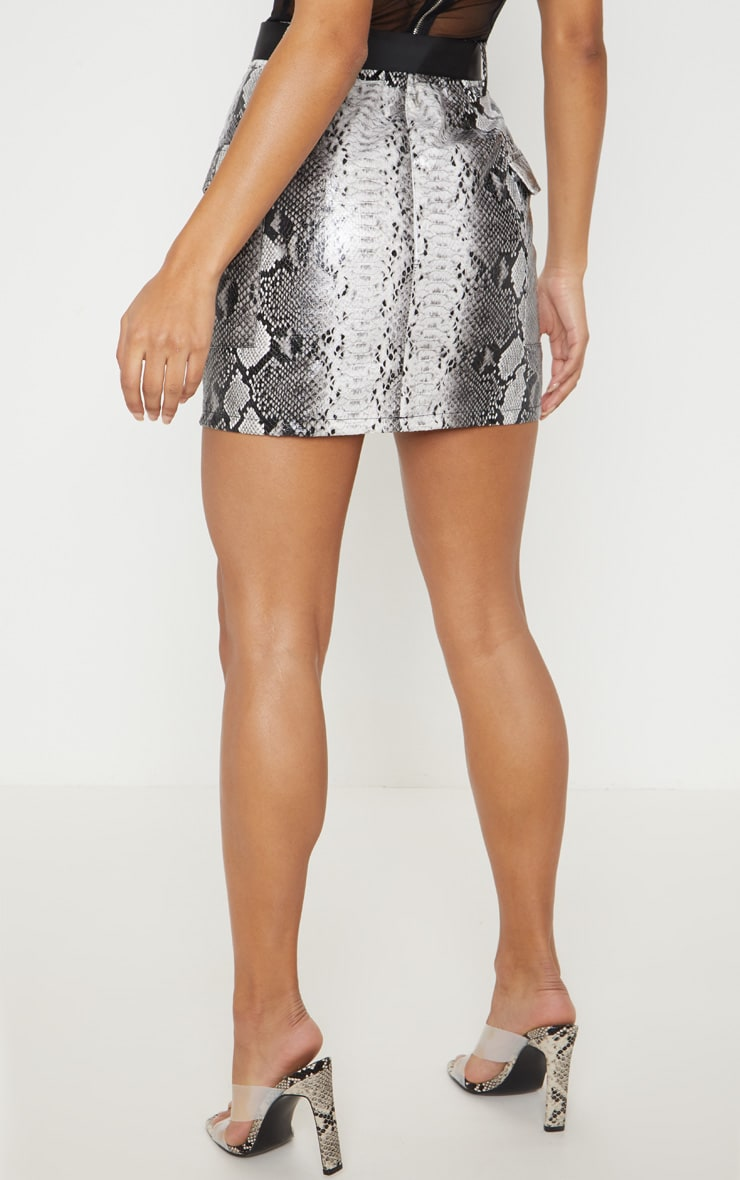 Grey Snakeskin Belted Mini Skirt 4