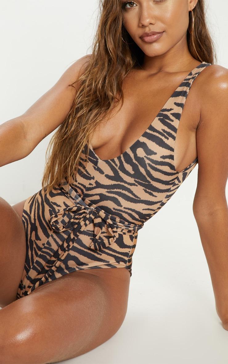 Nude Zebra Tie Waist Swimsuit 6