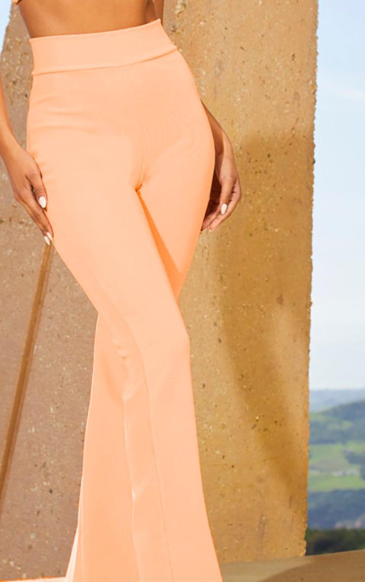 Peach Second Skin Rib Extreme High Waist Flare Trousers 5