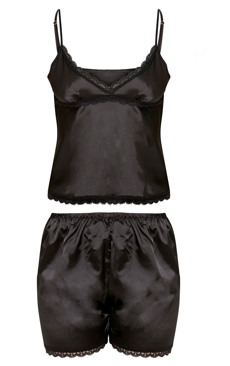 Mina Black Satin Camisole & Short with Lace Trim 3