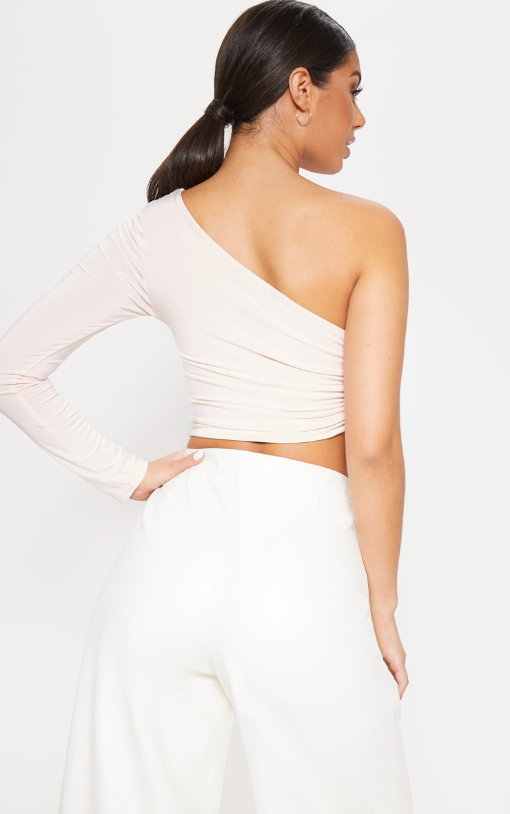 Nude Slinky One Shoulder Ruched Crop Top 2