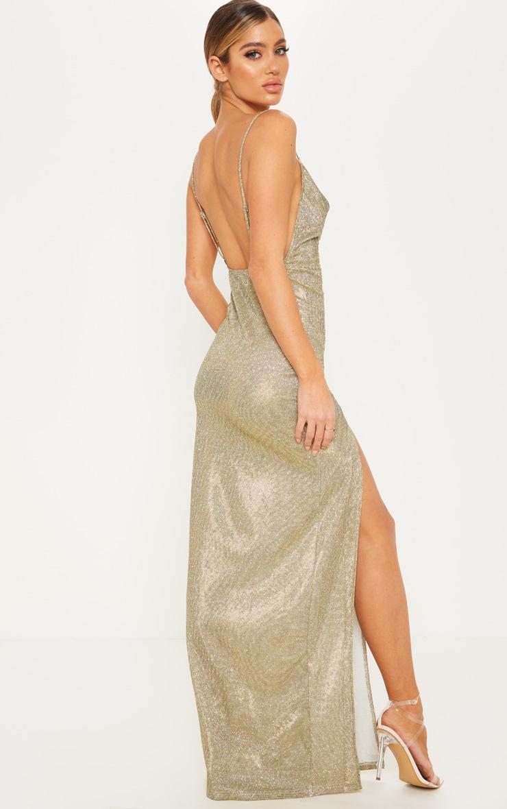 Gold Metallic Cowl Split Leg Maxi Dress 2
