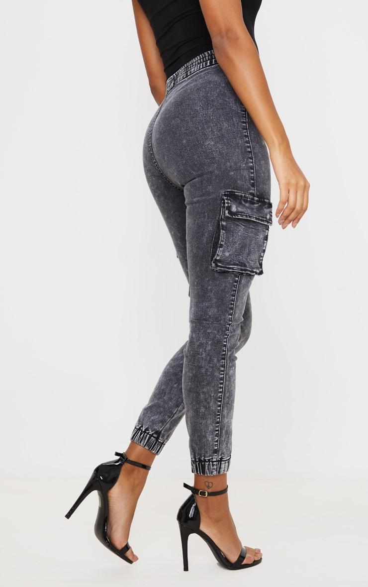 Washed Grey Cargo Stretch Jeans 3