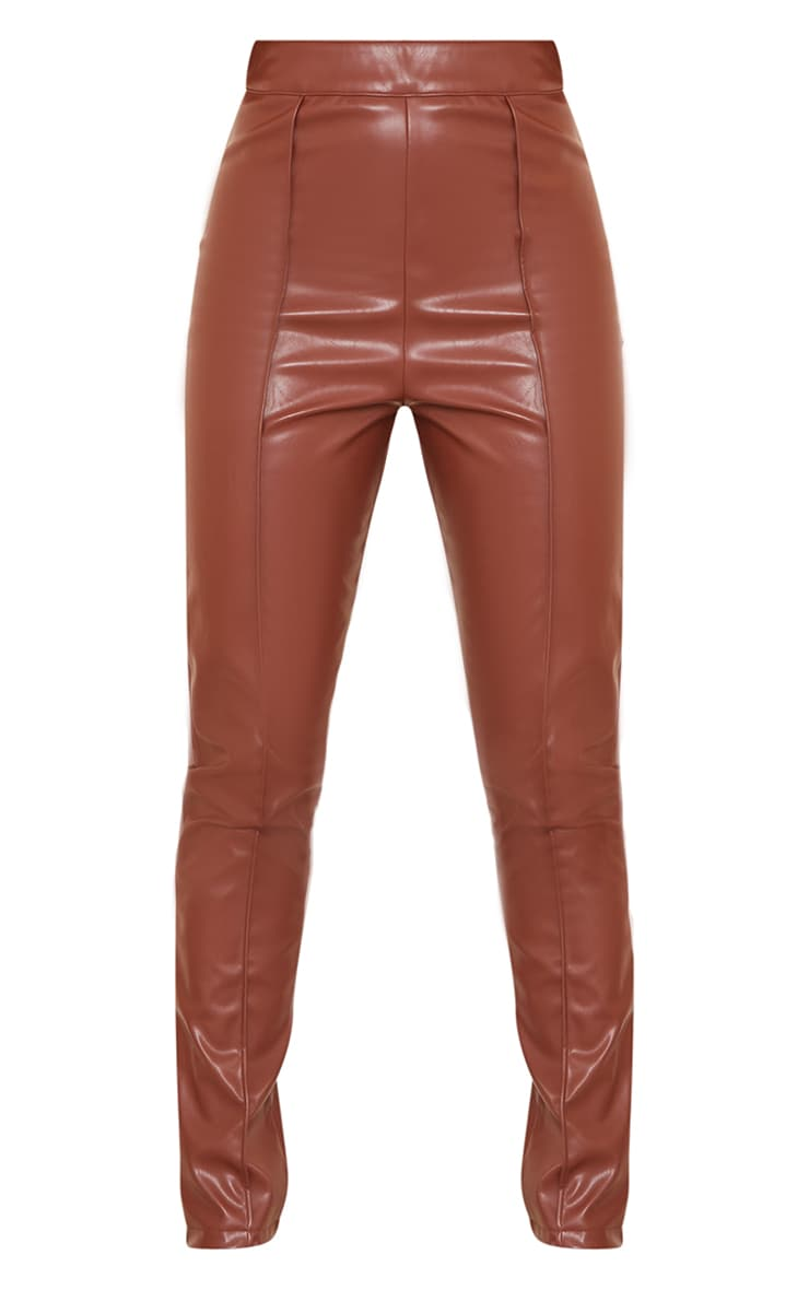 Petite Chocolate Faux Leather Seam Detail Trouser 5