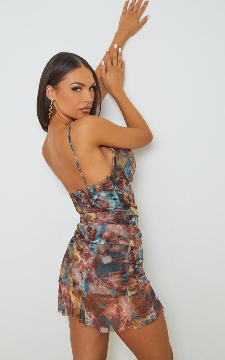 Multi Tie Dye Print Mesh Ruched Bodycon Dress 2