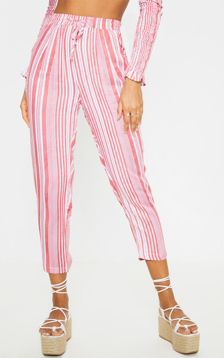 Red Stripe Printed Casual Trousers 2