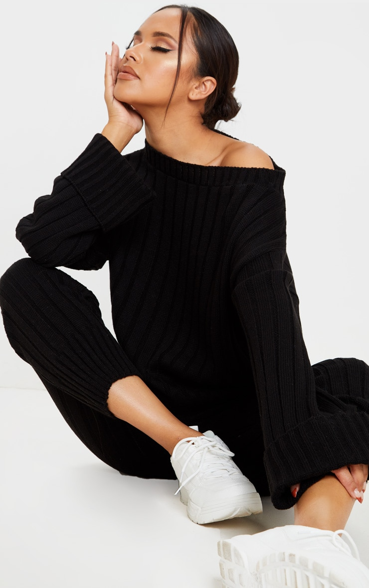 Black Off The Shoulder Sweater And Legging Lounge Set 4