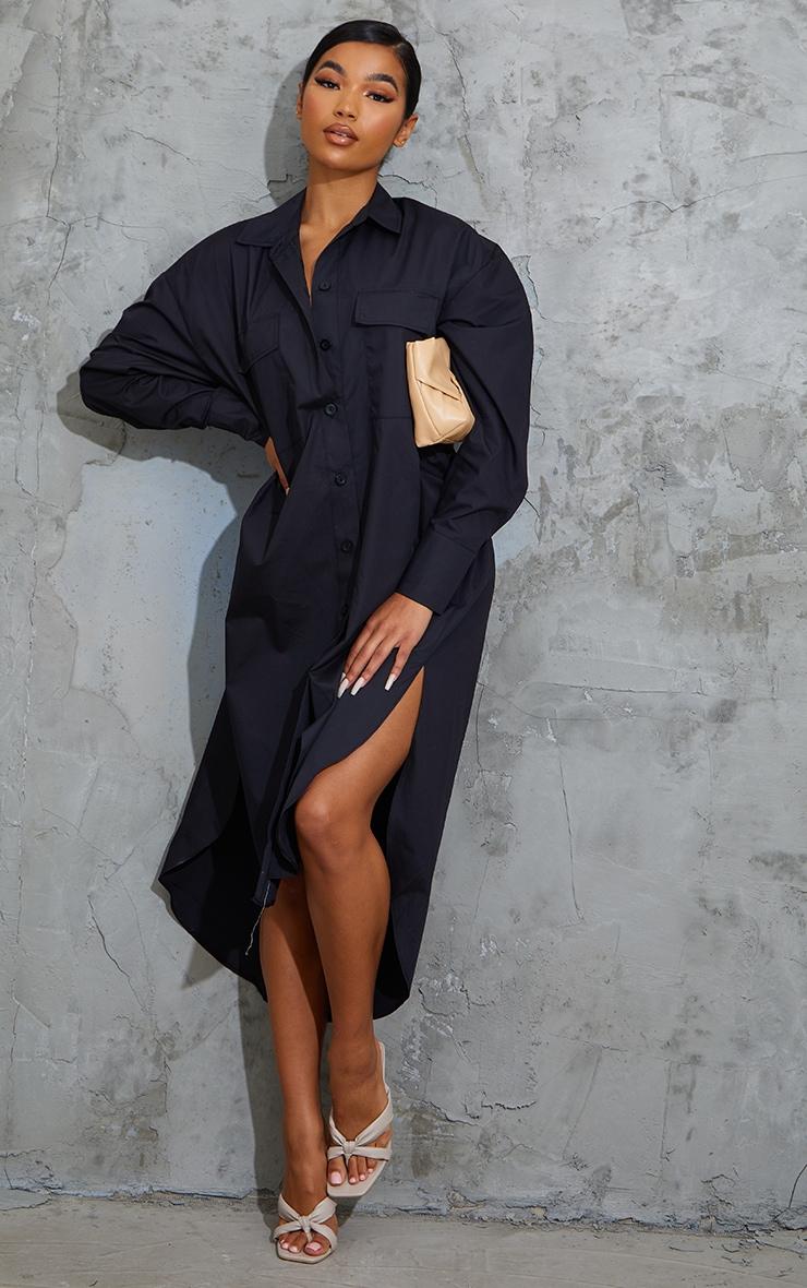 Black Deep Pocket Drop Hem Midi Shirt Dress 1