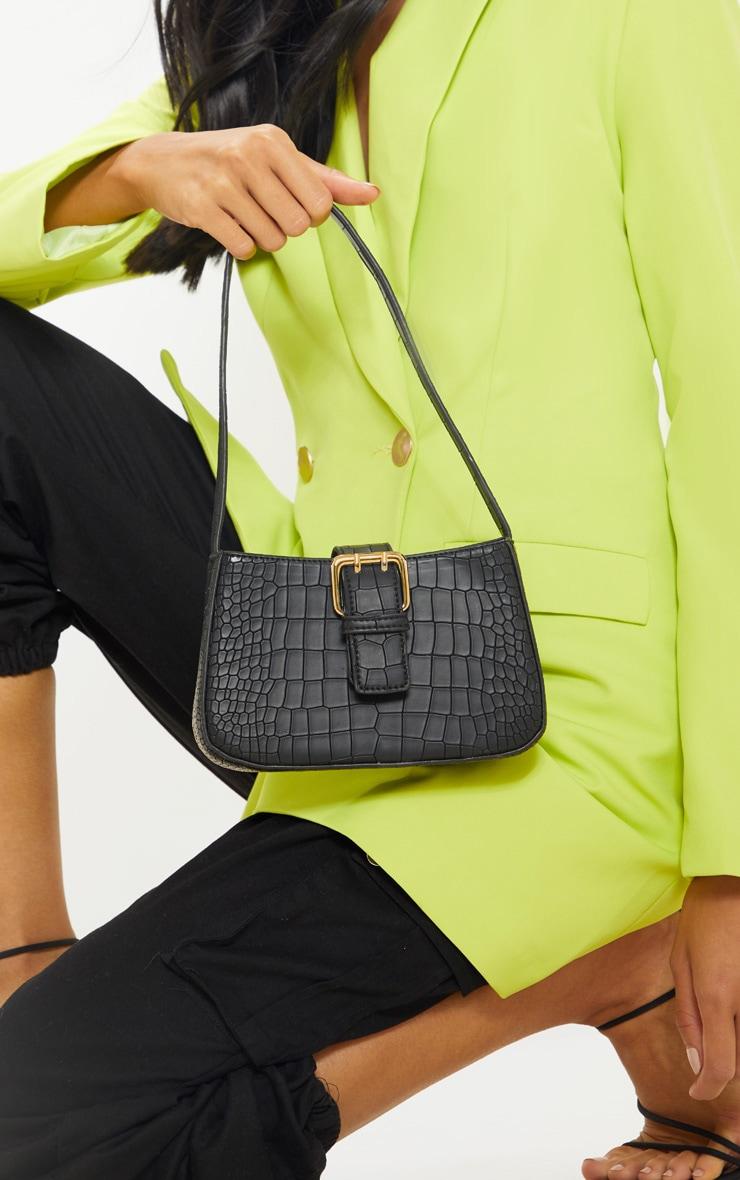 Black Croc Buckle Front Shoulder Bag image 1