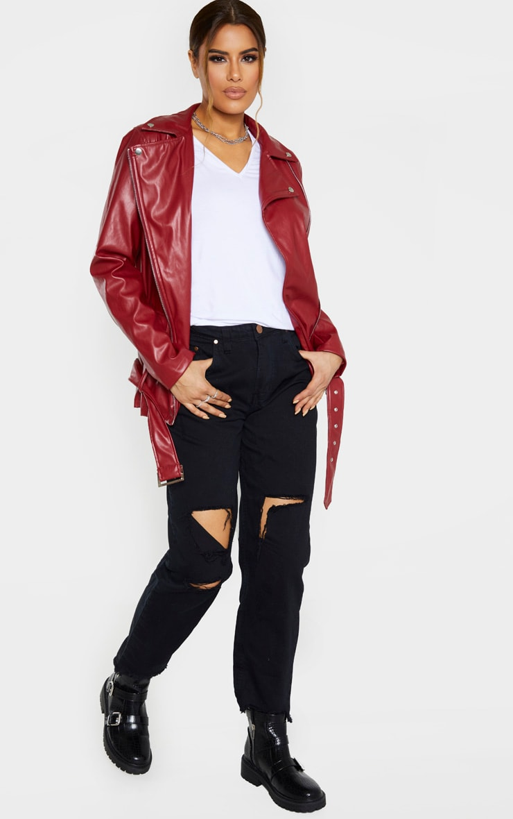 Tall Burgundy Oversized Longline PU Biker Jacket  4