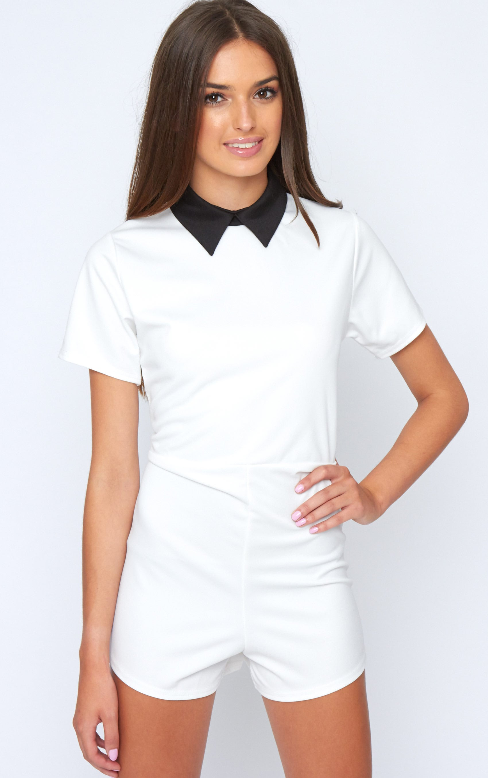 Edie White Playsuit With Black Collar Detail-M/L 2