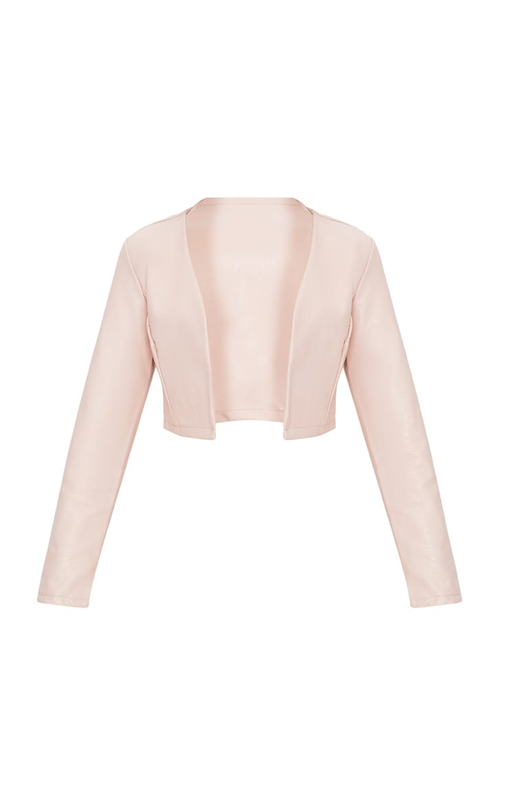 Pale Pink PU Cropped Blazer 3