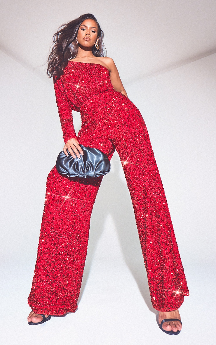 Red Premium Velvet Sequin One Shoulder Wide Leg Jumpsuit 1