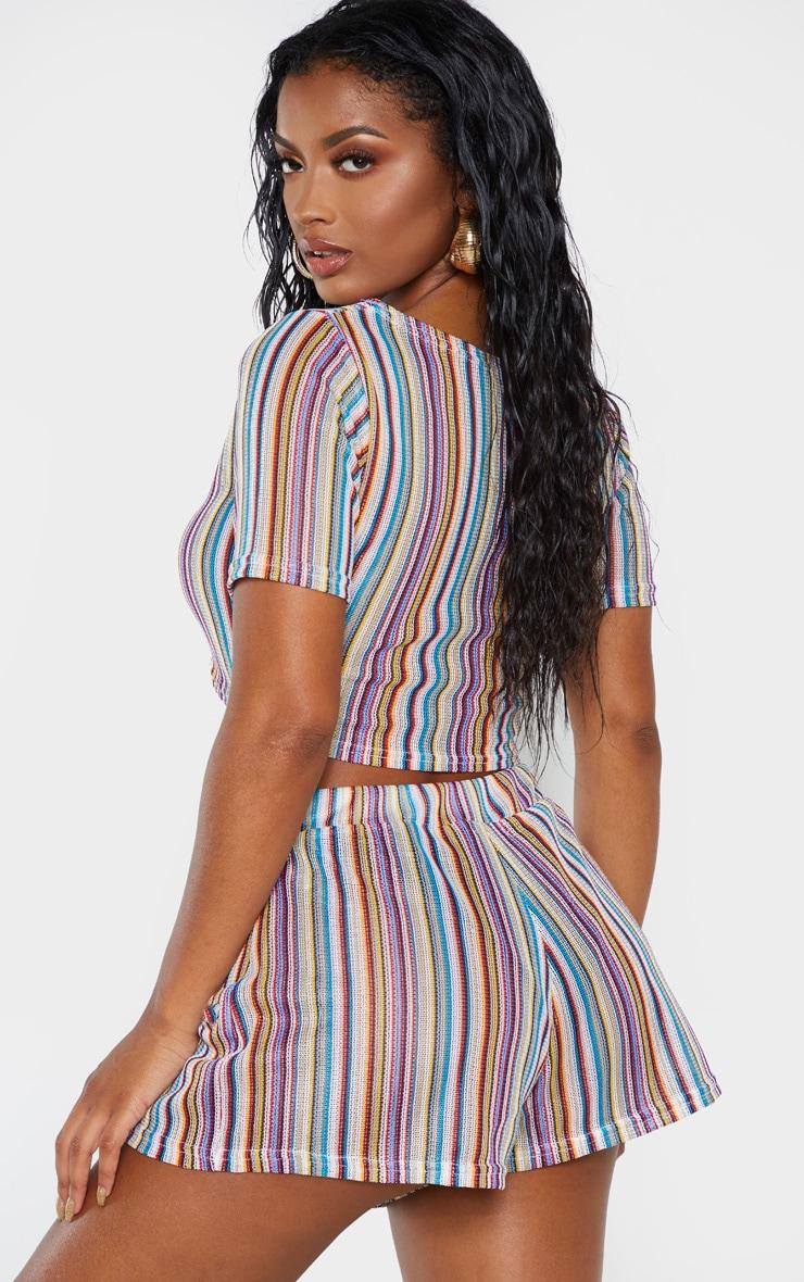 Shape Multi Striped Crochet Hot Pants 2