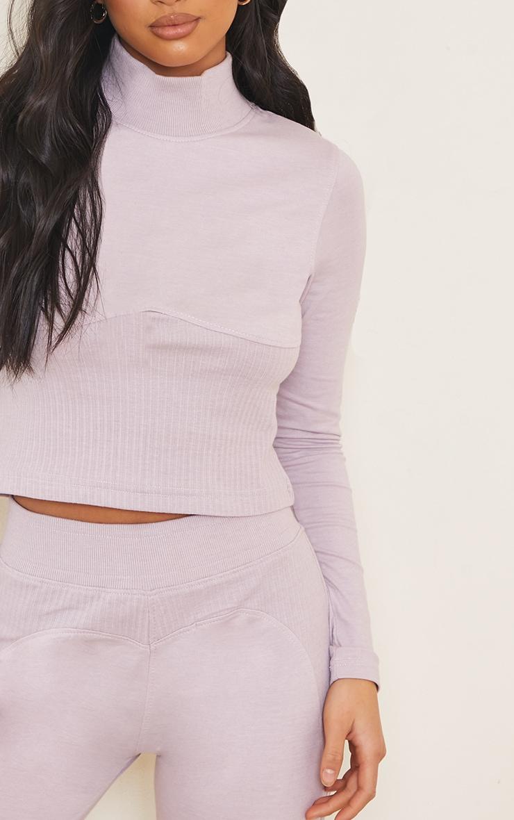 Petite Lilac Ribbed Underbust Detail Long Sleeve Crop Top 4