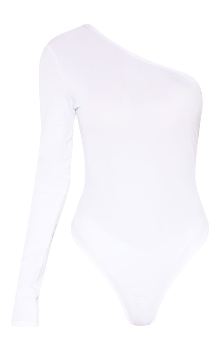 Tall White Stretch Crepe One Shoulder Thong Bodysuit 3