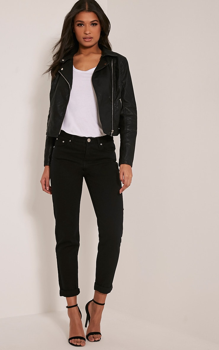 Annie Black PU Textured Biker Jacket 5