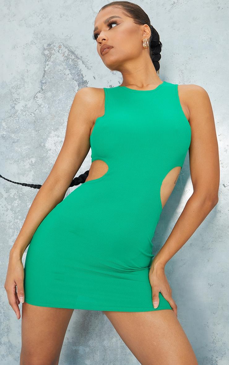 Green  Ribbed Sleeveless Cut Out Waist Bodycon Dress 3