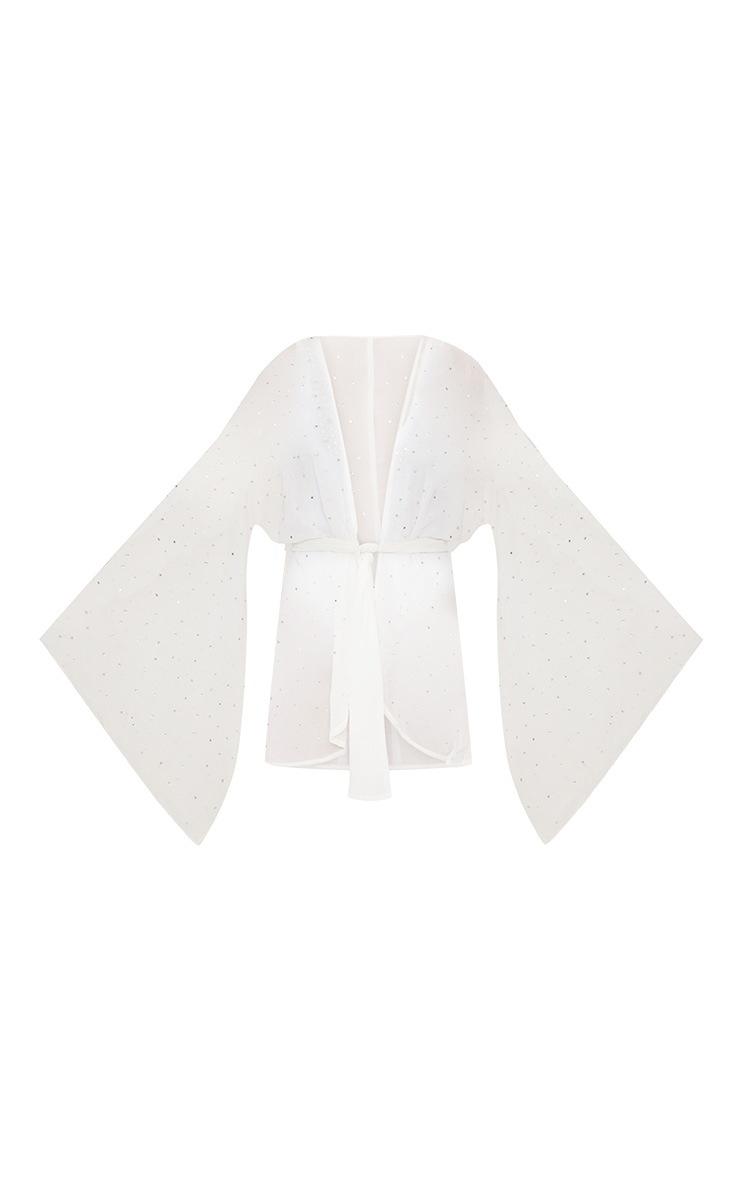Premium - Kimono court blanc à strass 4