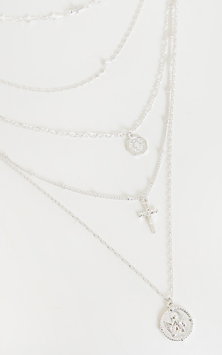 Silver Cross And Cherub Layering Necklace 3