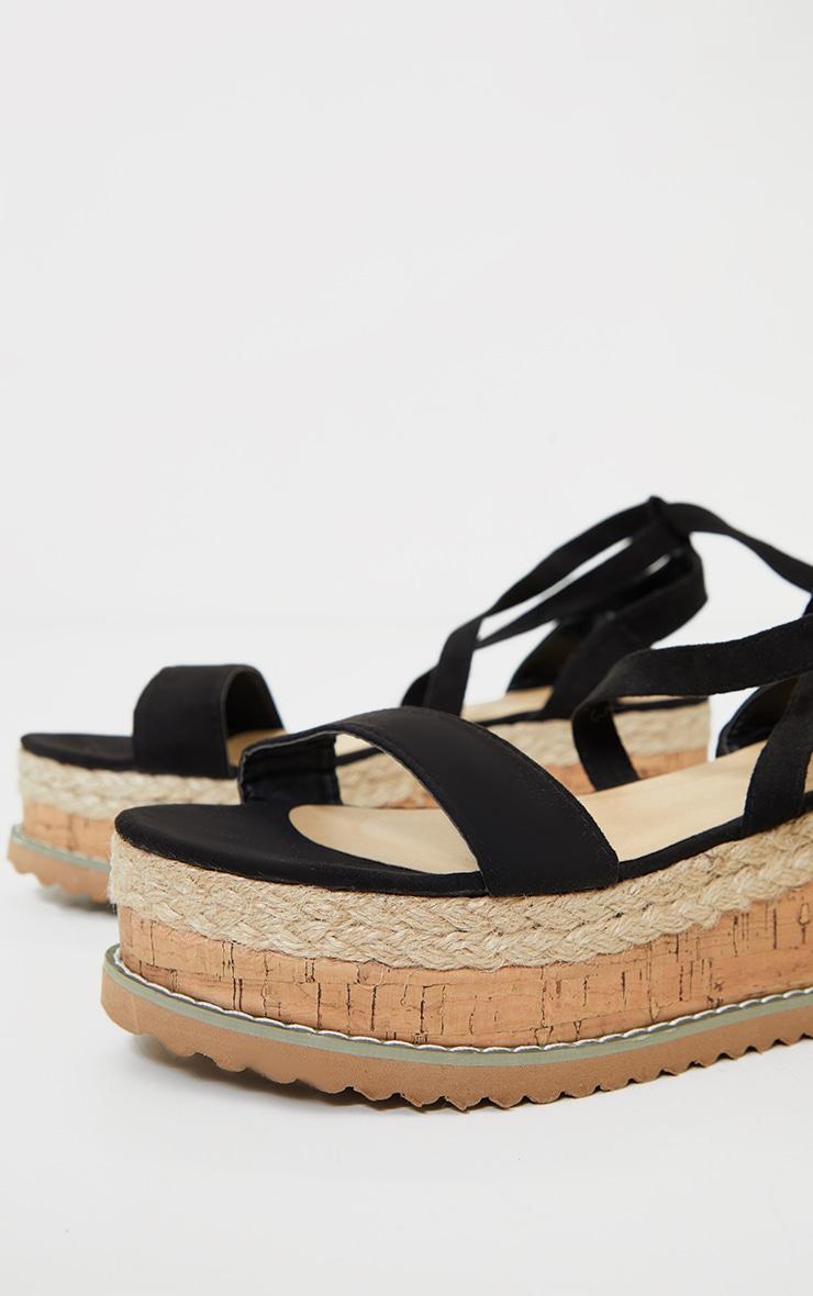 Black Wide Fit Faux Suede Tie Ankle Espadrilles 3
