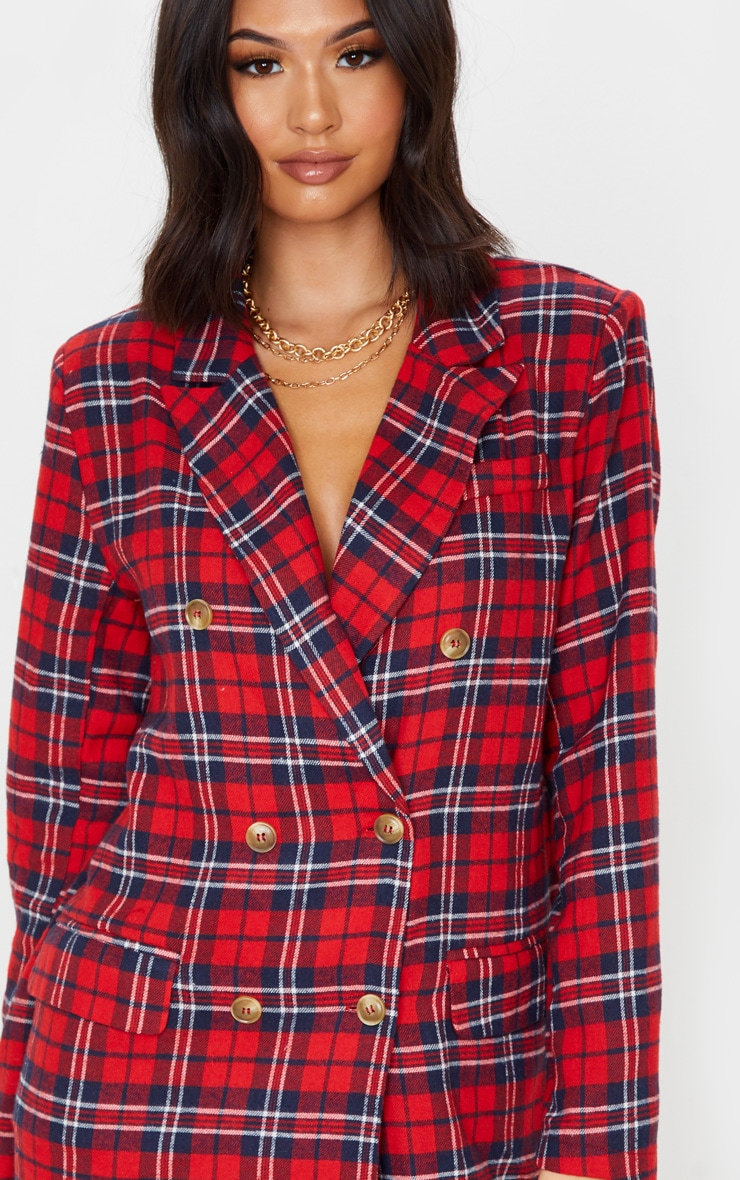 Red Check Print Button Front Detail Oversized Blazer Dress 5