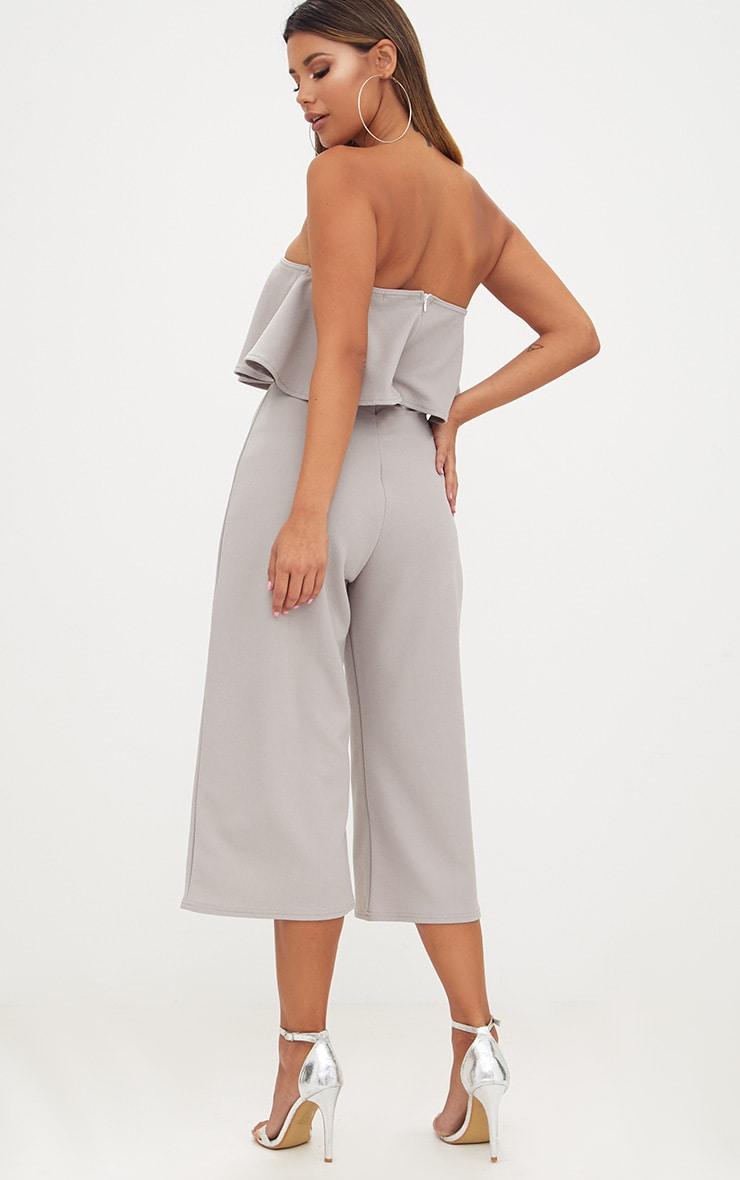 Grey Bardot Double Layer Culotte Jumpsuit 2