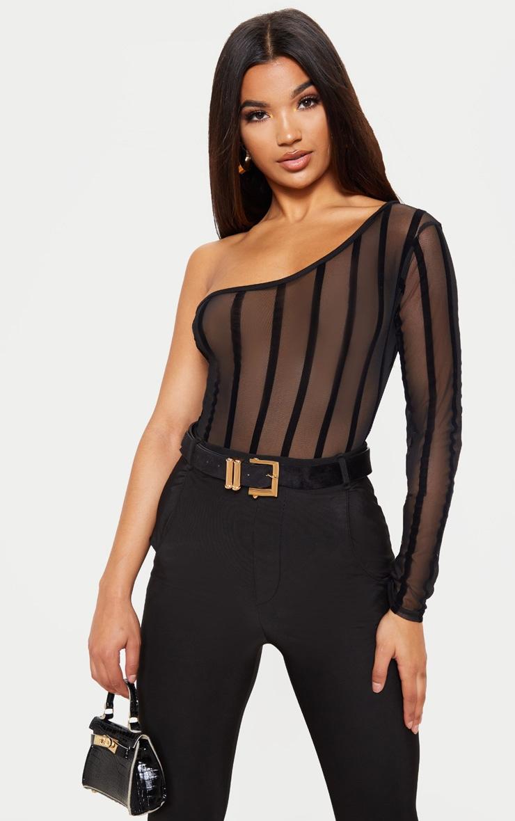 2eb83aeb167a Black One Shoulder Mesh Velvet Stripe Bodysuit   PrettyLittleThing USA