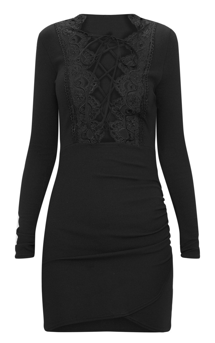 Black Lace Up Long Sleeve Wrap Detail Bodycon Dress  3
