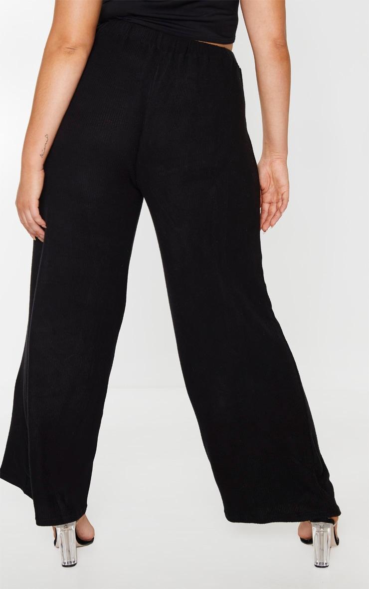 Plus Black Brushed Rib Wide Leg Trouser 4