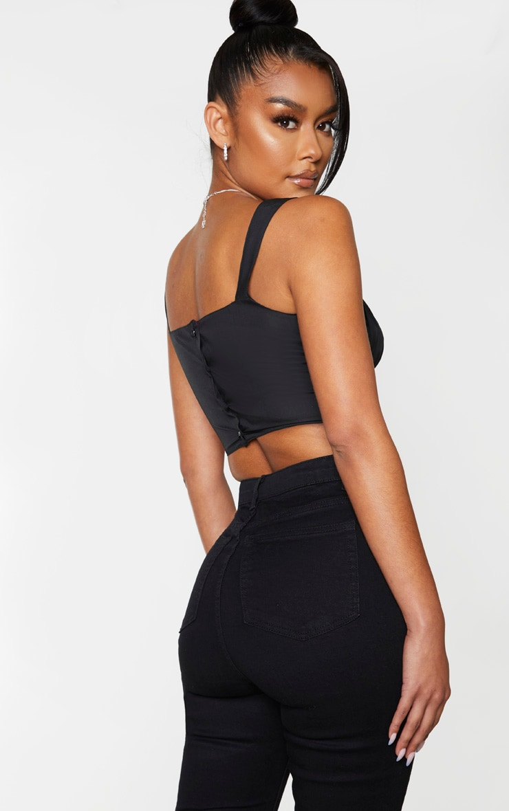 Black Woven Ruched Bust Crop Top 2