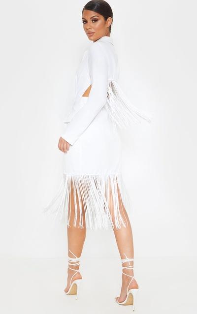 White Tassel Open Back Blazer Dress