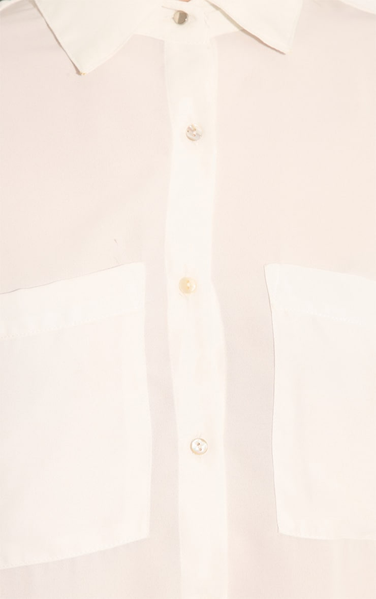 Arya White Cropped Blouse With Pearlised Buttons 5