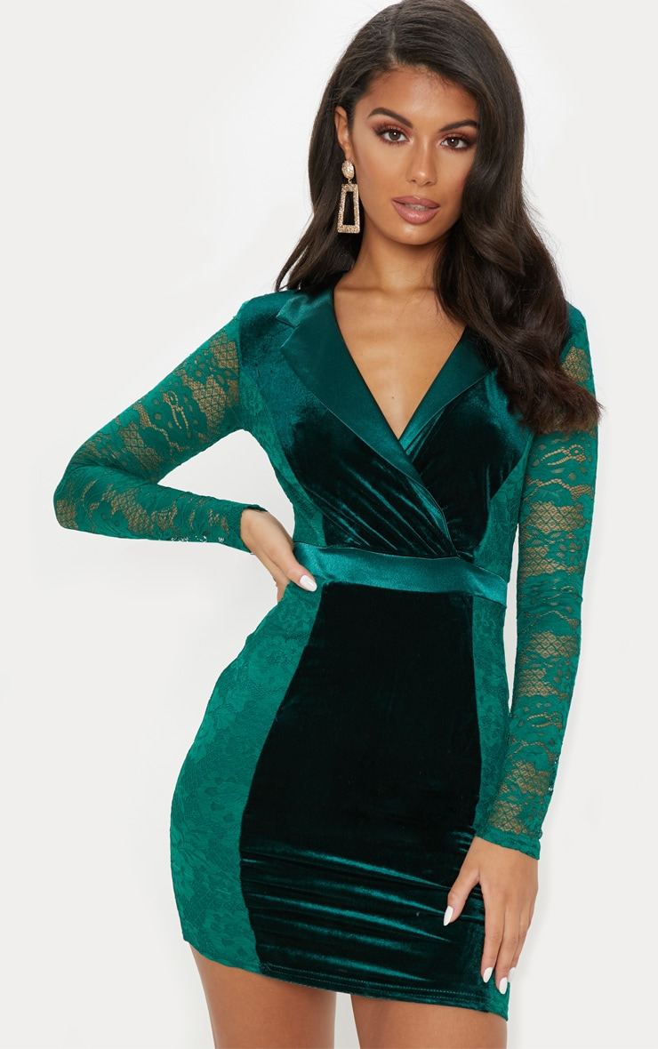 Emerald Green Lace Velvet Blazer Bodycon Dress 1