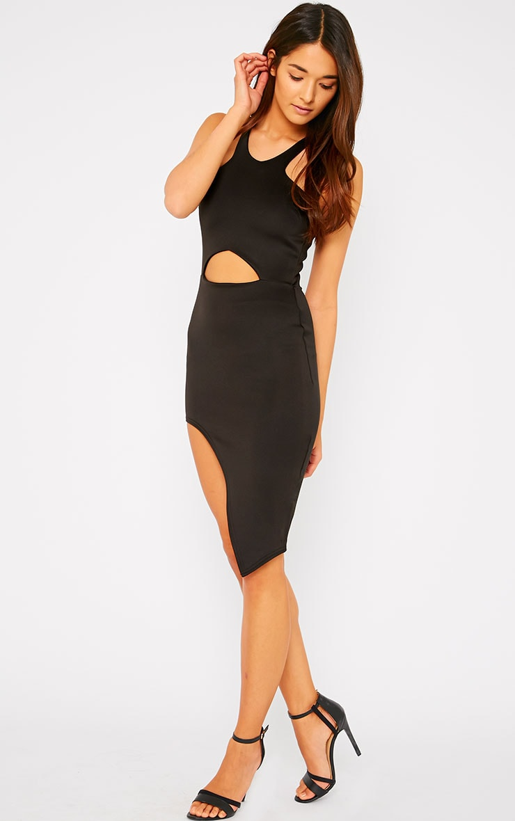 Sydney Black Cut Out Curve Split Dress 3
