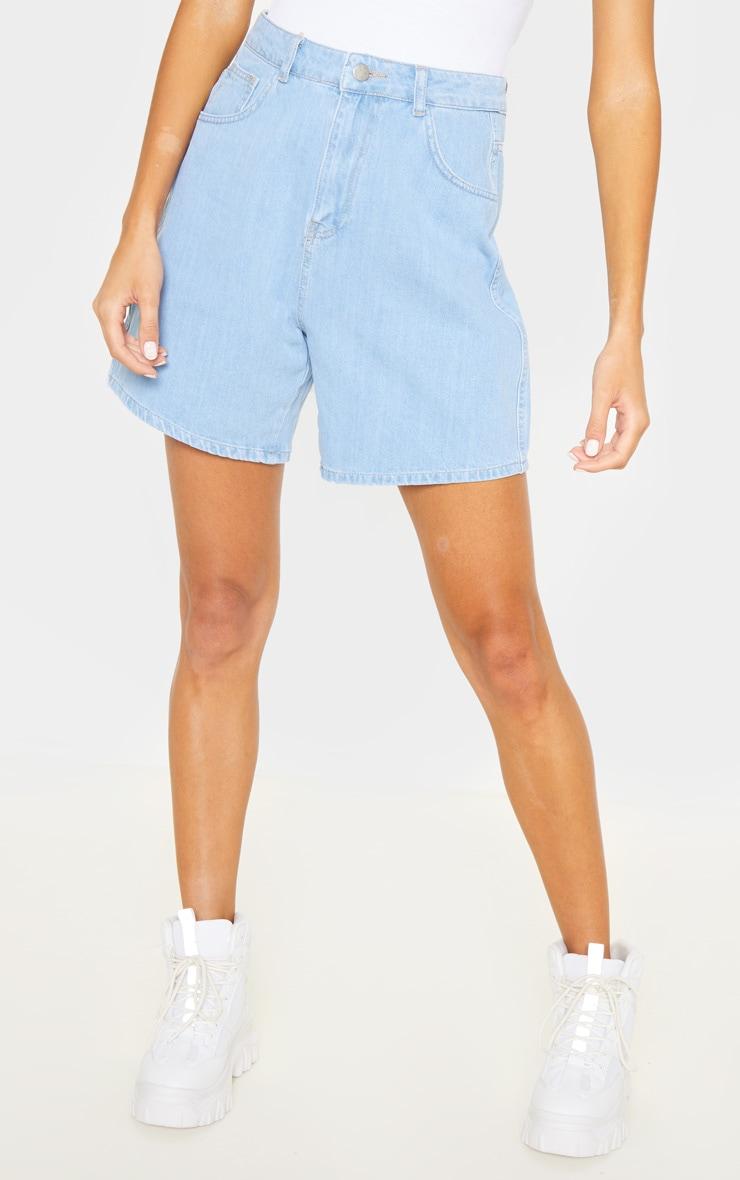 Tall Light Wash Denim Mom Shorts 2