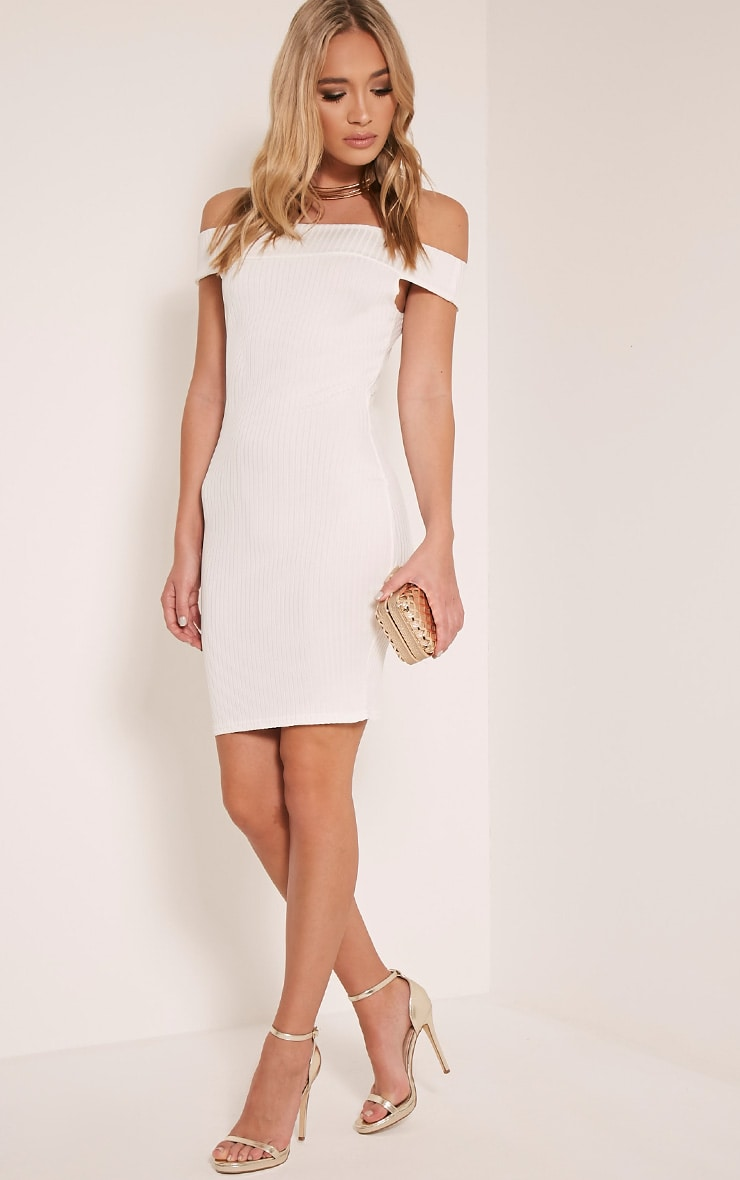 Rylah White Bardot Ribbed Bodycon Dress 5