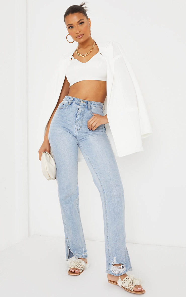 White Ribbed Knitted Strappy Top 3