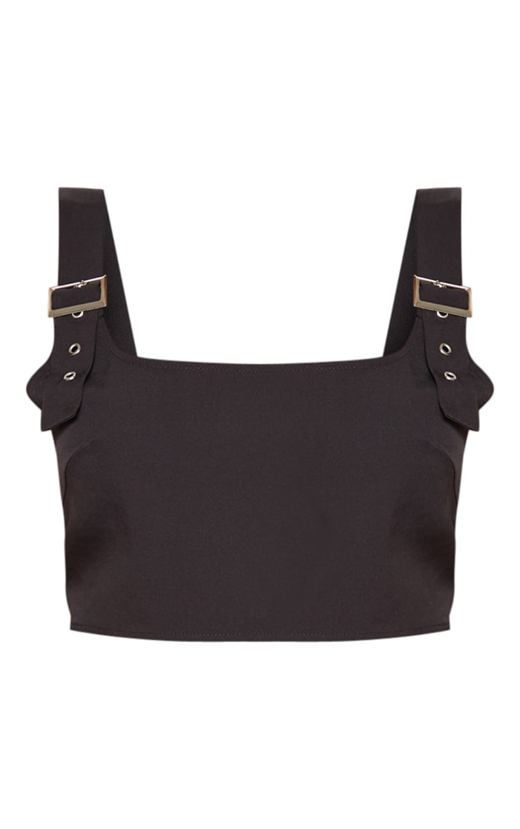 Black Woven Buckle Strap Crop Top 3