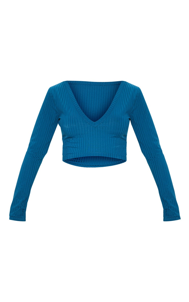 Petrol Blue Rib V Plunge Long Sleeve Crop Top 3