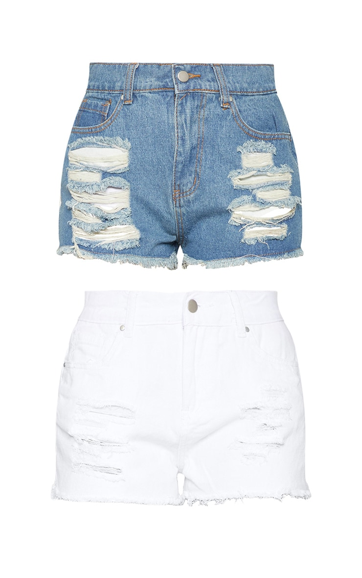 2 Pack Vintage Wash/White Ripped Denim Hot Pants  3