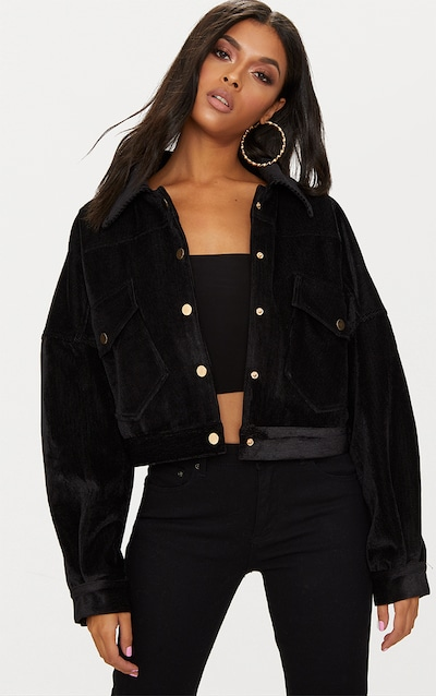 13072a4a823 Black Cropped Cord Oversized Trucker Jacket
