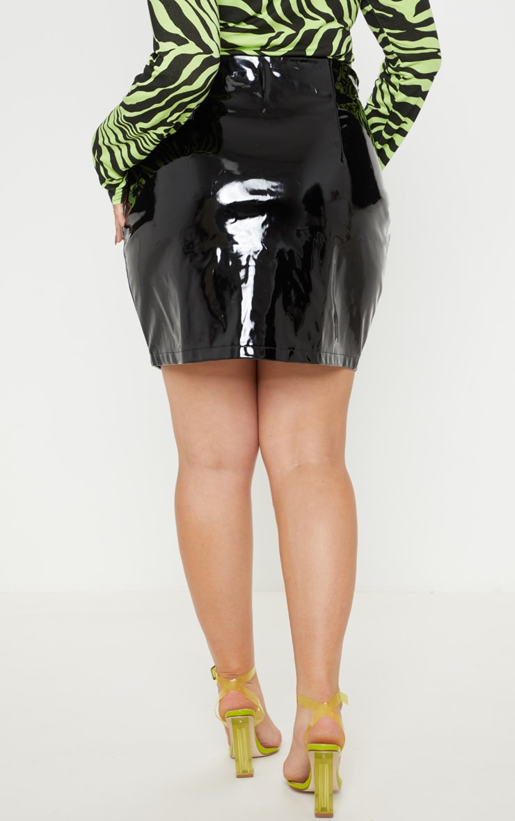 Plus Black Vinyl Lace Up Mini Skirt 4