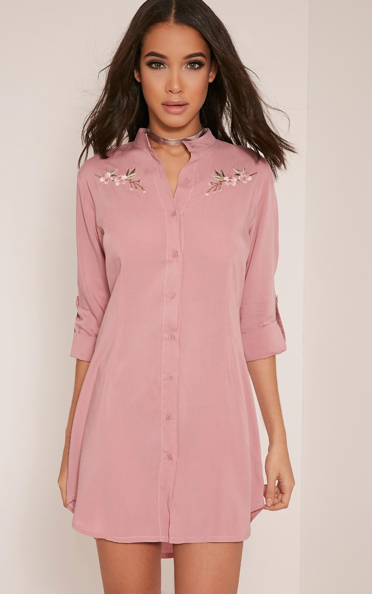 Isla Dusty Pink Floral Embroidered Shirt Dress 1
