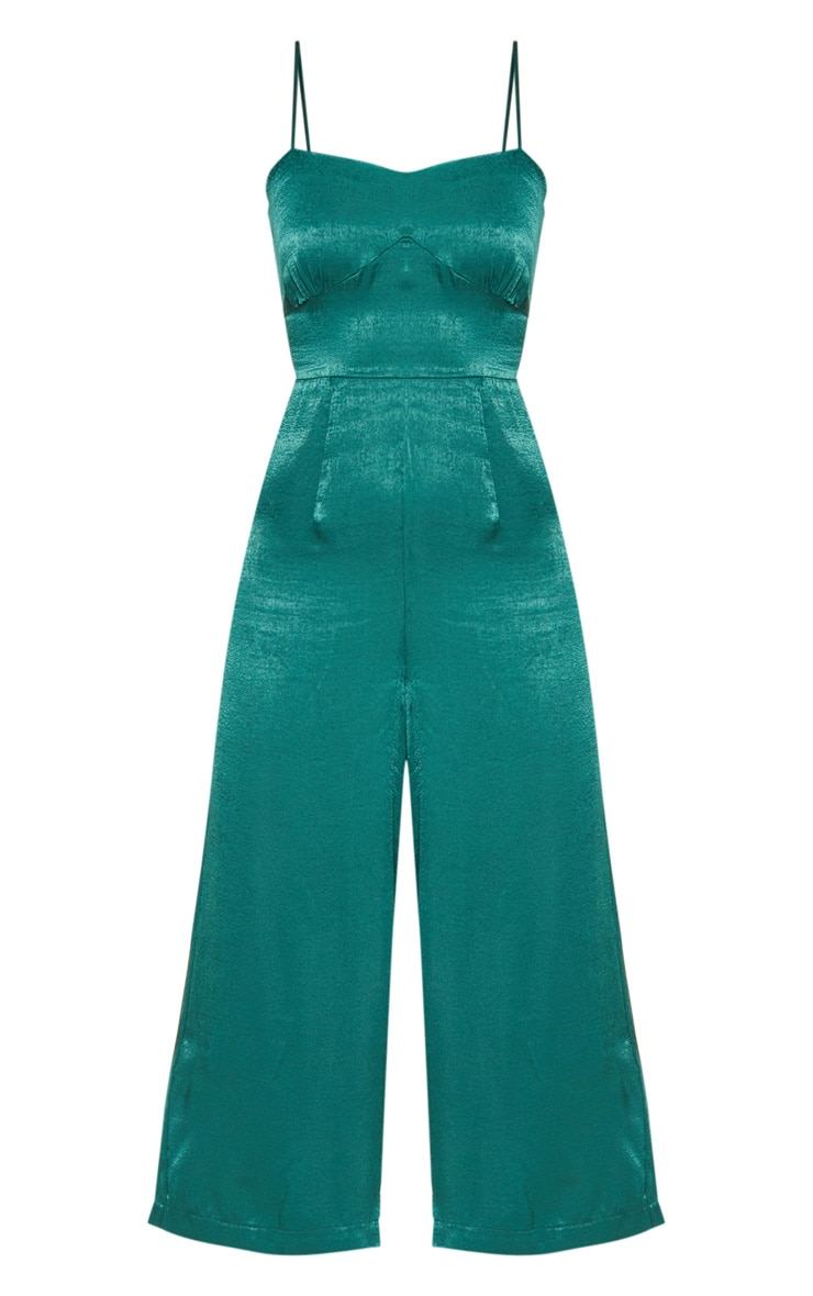 Emerald Green Satin Tie Back Culotte Jumpsuit 3