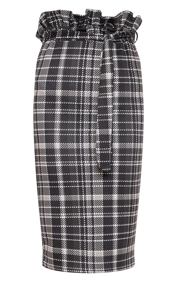 Black Check Paperbag Midi Skirt 3
