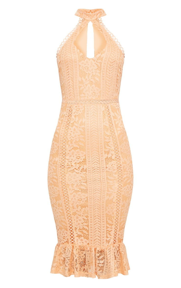 Tangerine Lace Cut Out Frill Detail Midi Dress  3