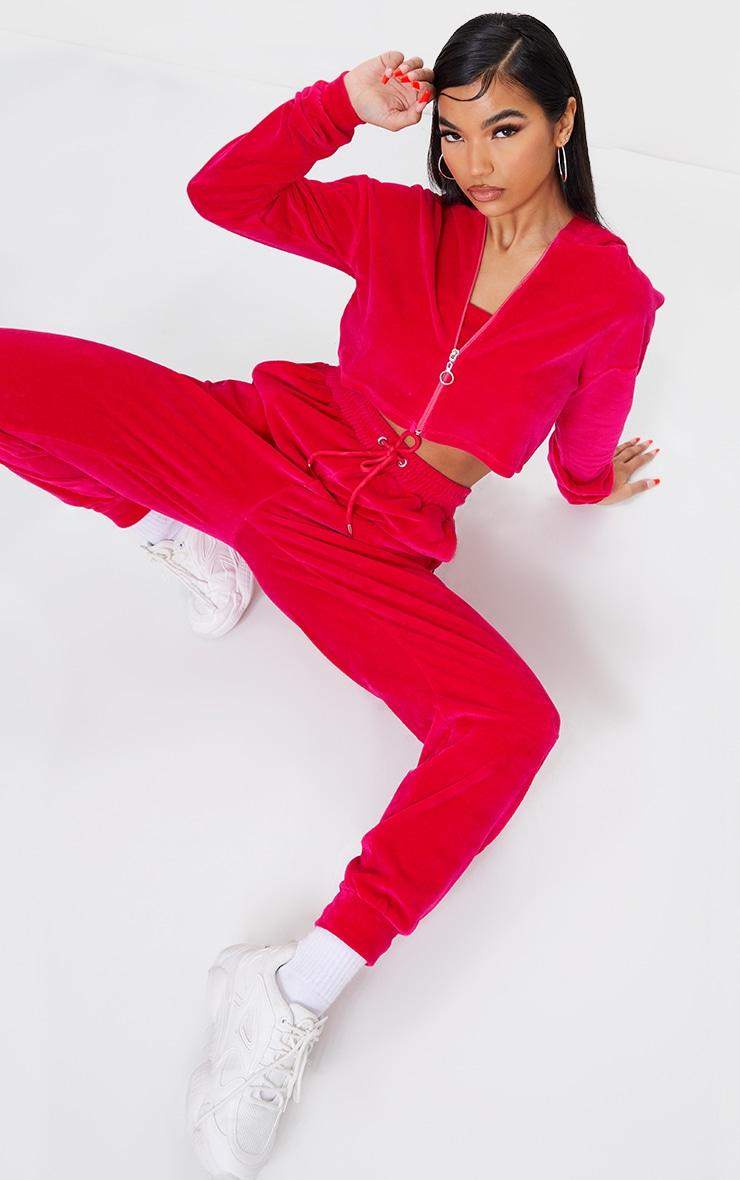 Bright Pink Velour Zip Through Cropped Hoodie 3